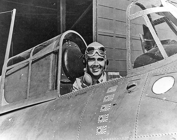 Ace Butch O'Hare In The Cockpit Of His F4F Wildcat