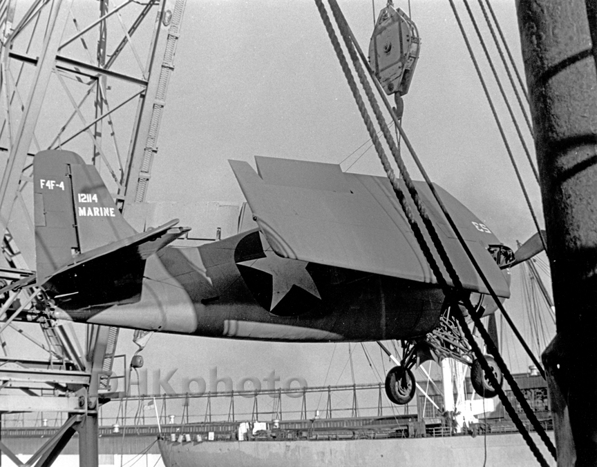 F4F Hoisted Onto Aircraft Carrier