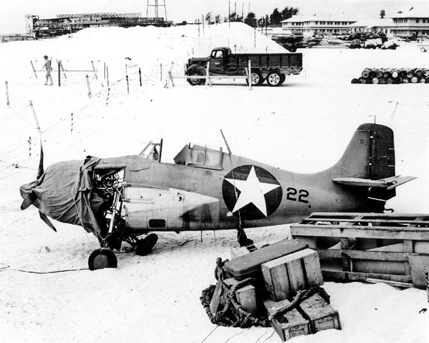 F4F Damaged At Midway Island
