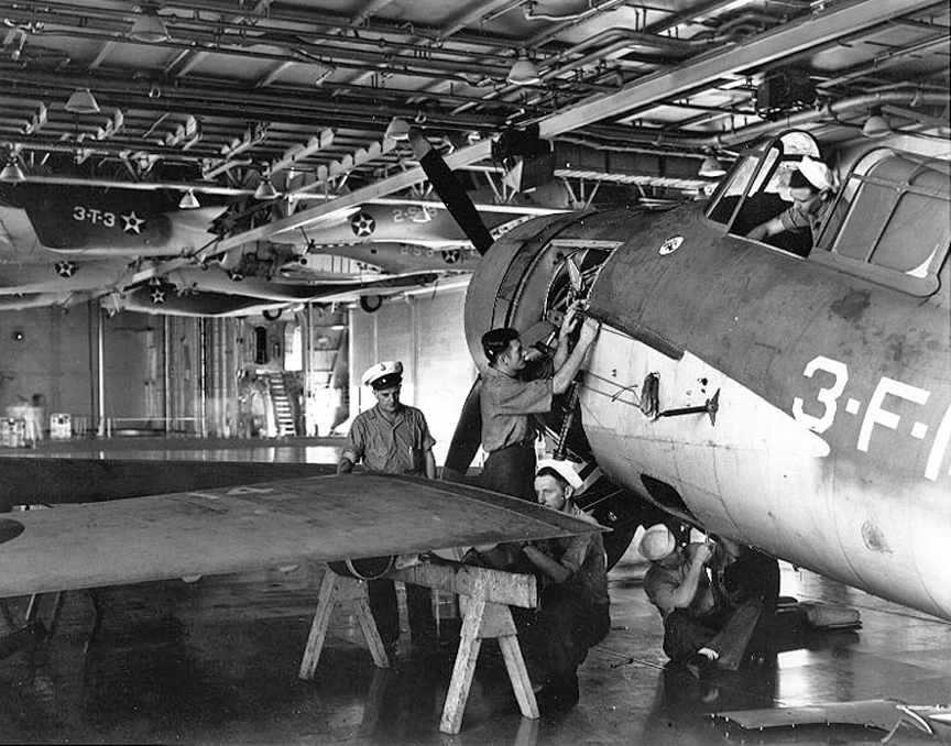 F4F Being Assembled On Hangar Deck Of USS Enterprise