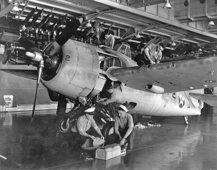 F4F Maintenance On Enterprise Hangar Deck
