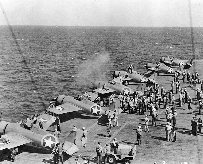 F4F Lineup Testing Machine Guns On Ranger Deck Edge