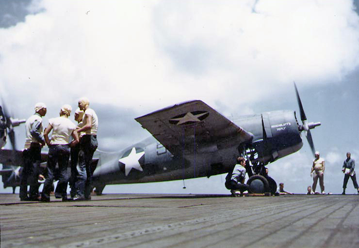 F4F On Deck Of The USS Suwannee Color